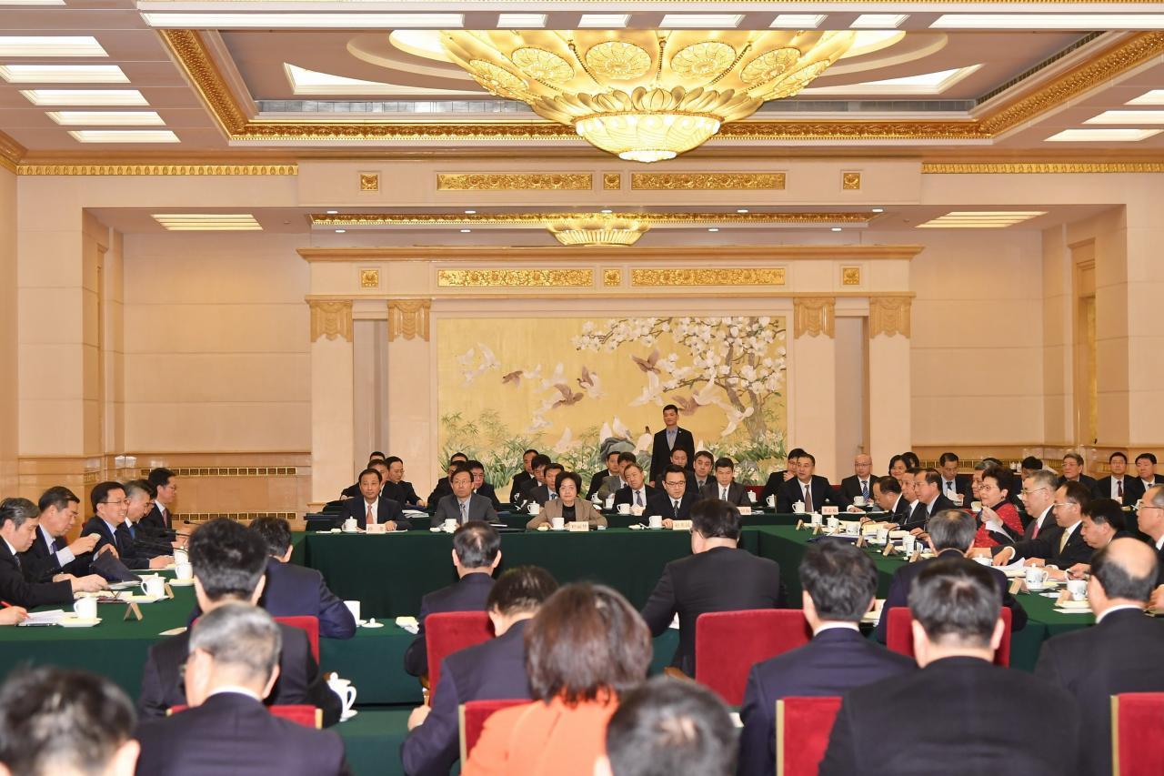 韓正在粵港澳大灣區建設領導小組第二次會議上,形容大灣區為三個前所未有。