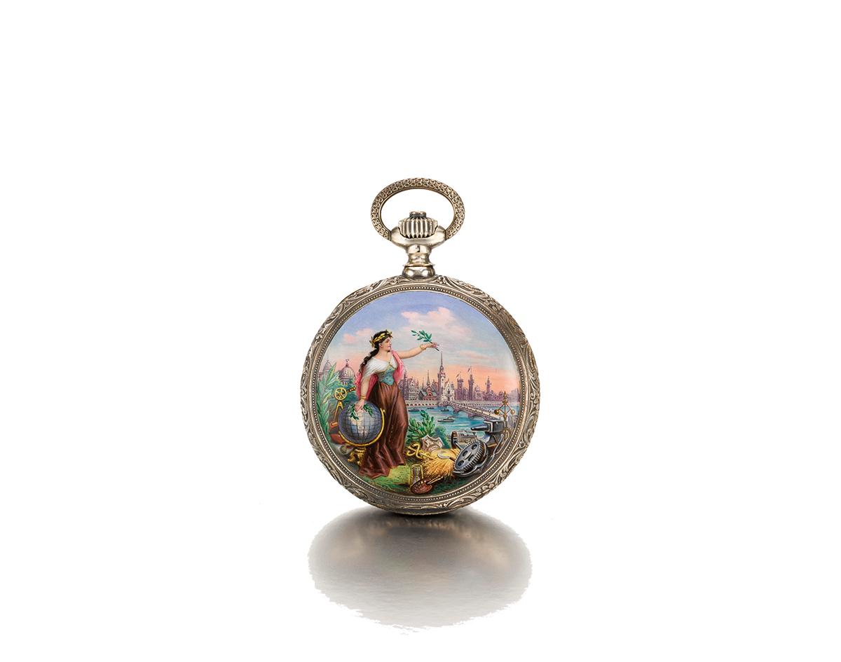 朗格鉑金及粉紅金畫琺瑯一分鐘陀飛輪精密計時懷錶,備逆跳顯示,直徑59毫米;No. 41000,1900年製。 估價:900,000 - 1,200,000 美元