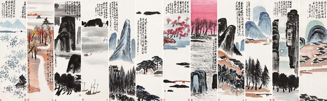 齊白石的《山水十二條屏》以9億3150萬元人民幣天價成交。