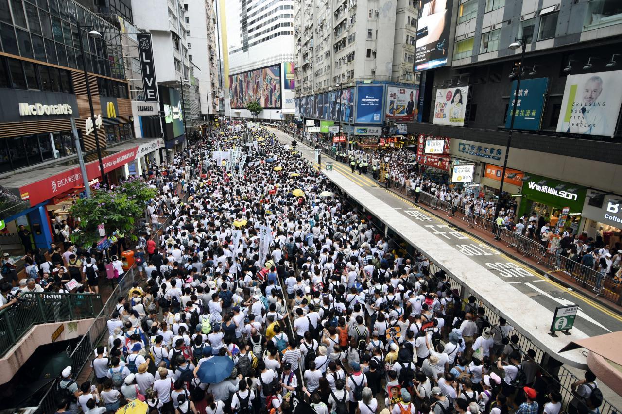 上週日舉行的「反送中」遊行有超過一百萬人參與。