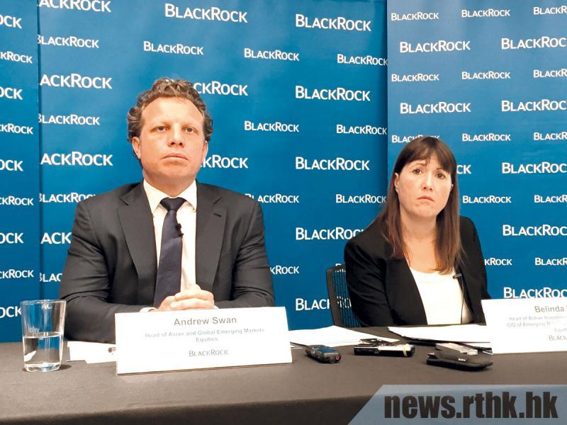 貝萊德亞洲及環球新興市場股票團隊主管施安祖(左)表示,投資團隊對亞洲股市持正面展望。