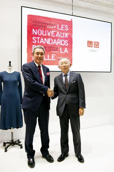 (左)Shima Seiki主席Mitsuhiro Shima UNIQLO創辦人柳井正。