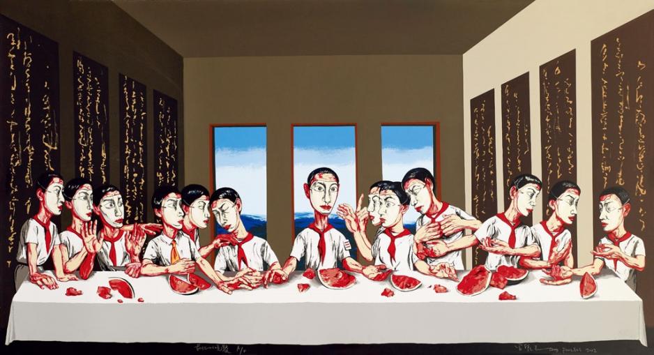 中國當代藝術家曾梵志的「最後的晚餐」以1.8億港元成交,創亞洲當代藝術品的最高紀錄。