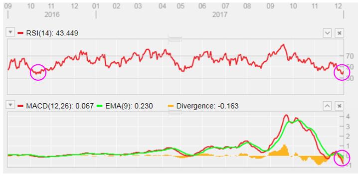 RSI及MACD均觸及近一年半低位。
