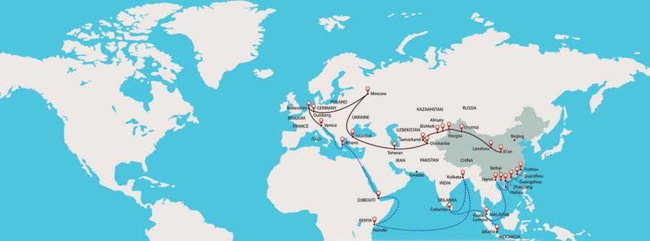 一帶一路(絲綢之路經濟帶+21世紀海上絲綢之路)概念橫跨歐亞非三大洲。
