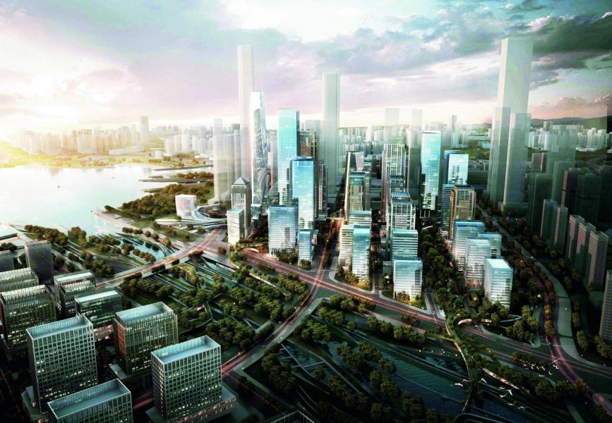 當局的目標是2020年完成前海建設,圖為全區建成的模擬圖。