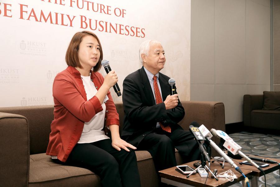 科大陳江和亞洲家族企業與創業研究中心主任金樂琦(右)表示,超過七成的中國企業傾向從家庭成員中尋找繼承者。