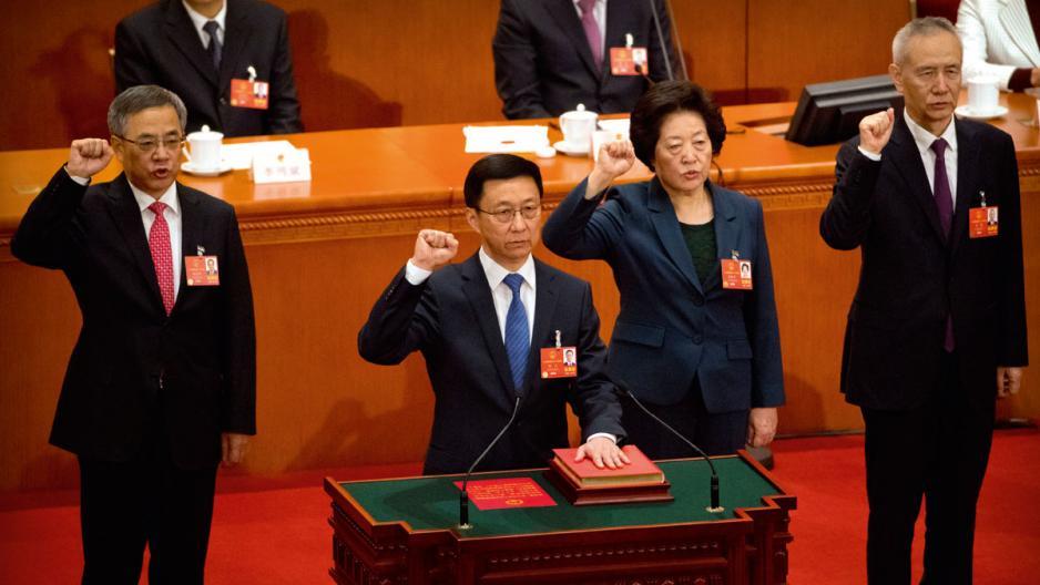 韓正(左)、孫春蘭(中)及劉鶴(右)宣誓出任國務院副總理。