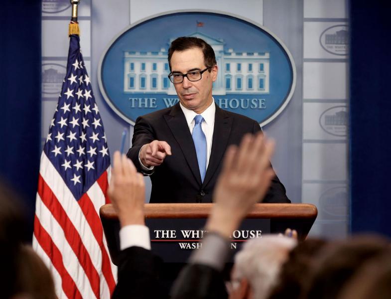 美財長姆欽計劃5月訪華,被視為緩解中美貿易磨擦之舉。