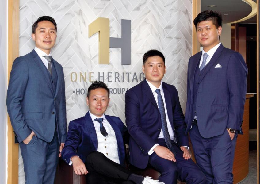 (由左至右)One Heritage科技有限公司行政總裁Nick Gu、One Heritage集團主席Billy Lee、One Heritage地產發展有限公司行政總裁Peter Cheung及One Heritage集團執行董事 Kenny Ngan合照。