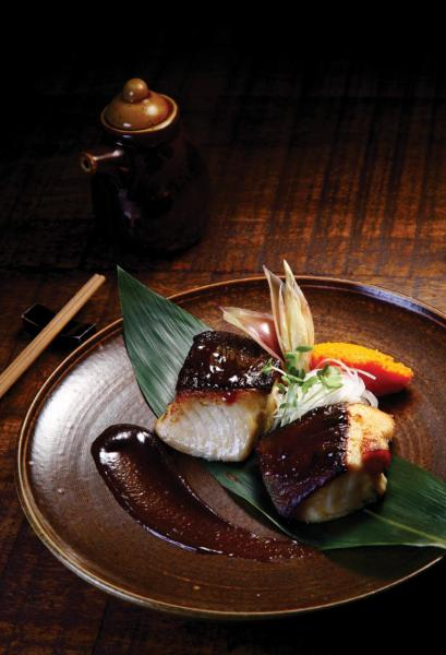 Grilled Black Cod - 大廚以白味噌及柑橘醬油醃製日本銀鱈魚,再配合爐端燒方式烹調,魚皮燒得香脆,魚肉卻仍然保持嫩滑。