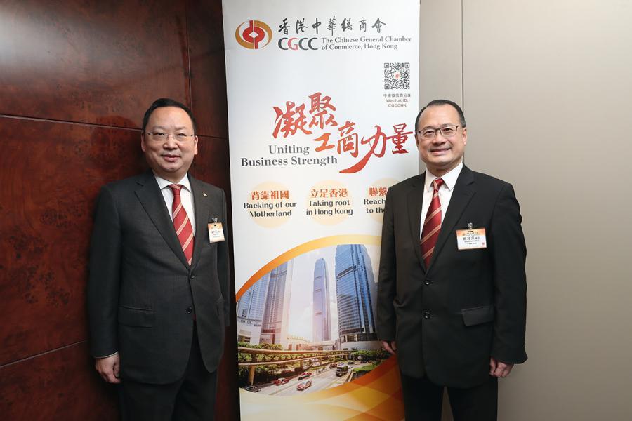 去年底陳仲尼新當選中華總商會副會長,主力對外公關工作,與會長蔡冠深 (右)合作無間。