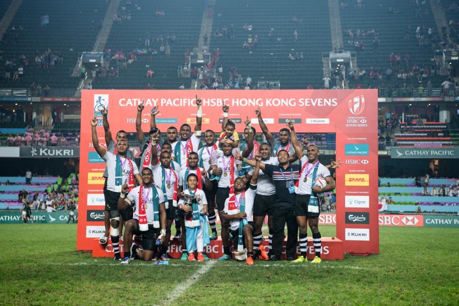 本年度「香港國際七人欖球賽」銀盃賽冠軍斐濟球隊。
