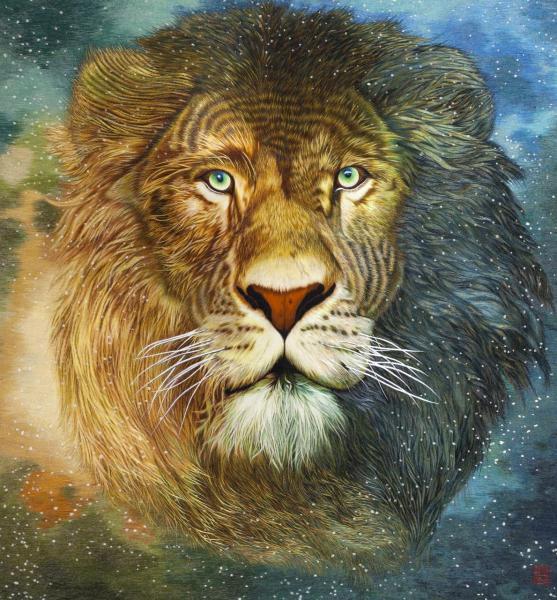 周雪清刺繡作品《獅子》