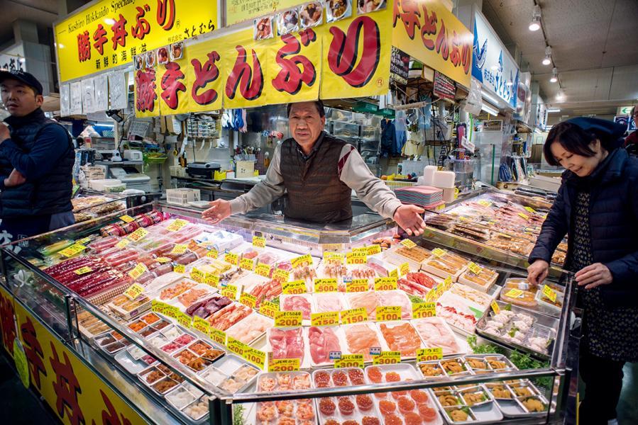 釧路和商市場的勝手丼,是遊客必嘗的名物。