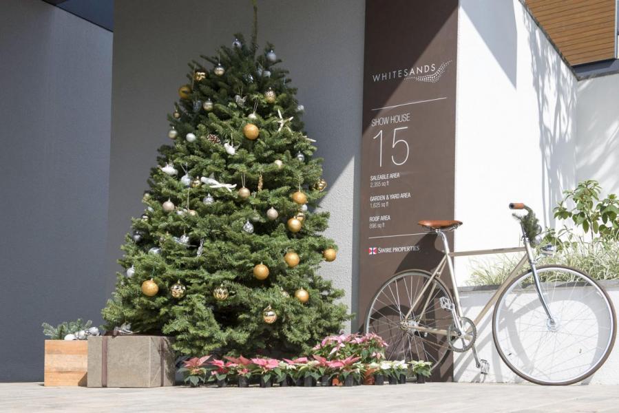 在WHITESANDS渡過的佳節裝飾由前院的私人停車處開始,這裡有洋溢節日氣氛的璀燦高貴聖誕樹裝飾迎接屋主和客人,更有載著繽紛多彩禮物盒的復古單車和可愛的發光聖誕馴鹿及蠟燭,當然少不了門上的節日花圈。