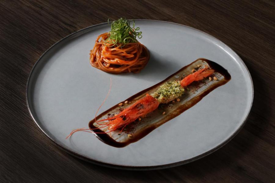 上:小紅蝦意大利粉、下:法式寶雲酥小紅蝦