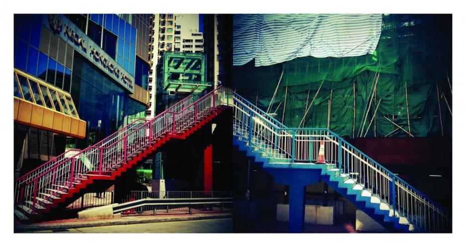 李家昇鏡頭下的香港充滿後現代精神,以拼貼及並置手法,從隱喻出發,展現一個碎片化下的香港。圖為作品「從兩個逆方向相對而行」。