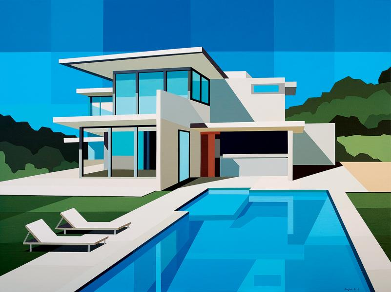 由Fabrik Projects帶來的藝術家Andy Burgess作品— Blue Retreat  (2018)。