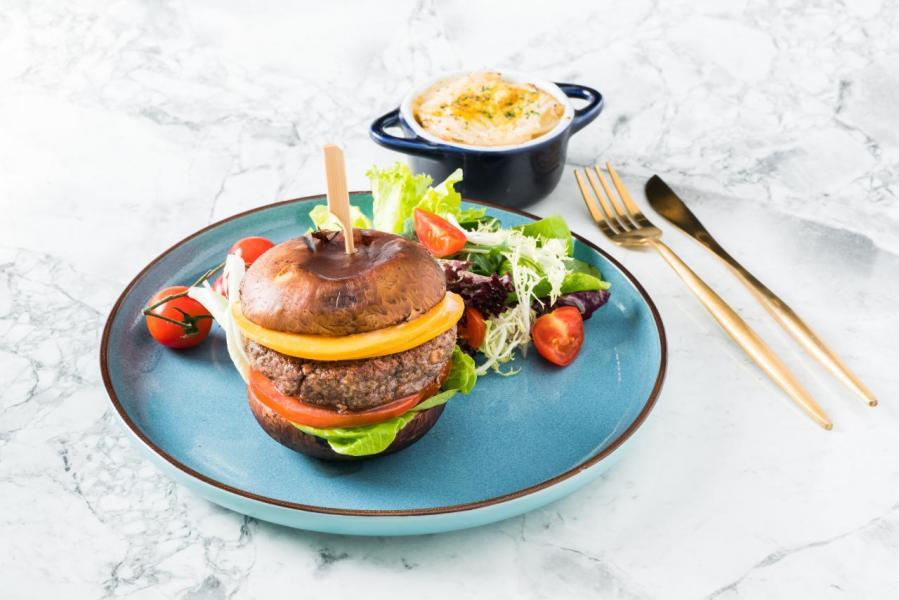 烤大啡菇純素芝士漢堡