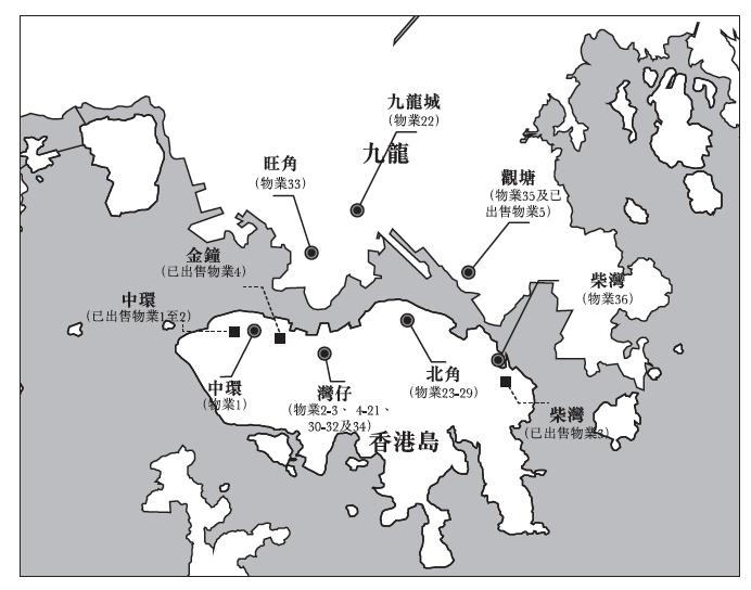 晉安的投資物業地區分佈(來源:晉安招股書)