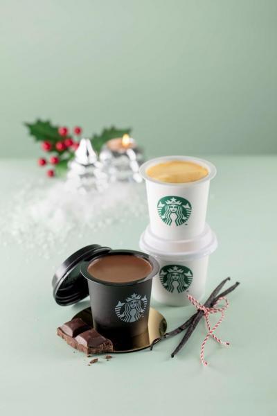 (左)朱古力布甸、(右)焦糖布甸(Starbucks)
