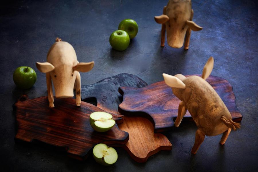 可愛玩味的木製小豬