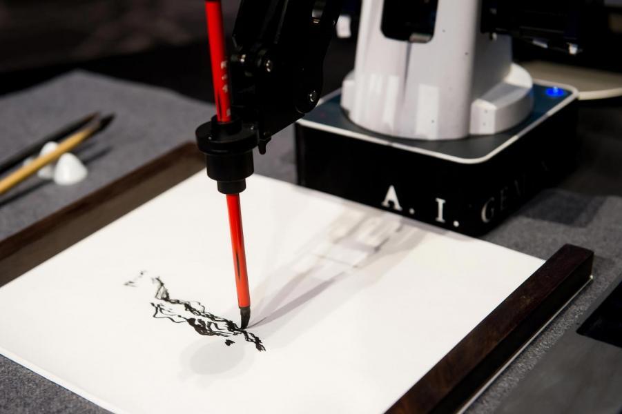 由人工智能藝術家 A.I. Gemini 繪畫 「科技水墨」山水系。
